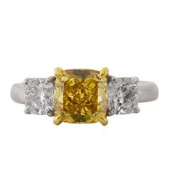 2.02 Carat Fancy Vivid Yellow Platinum Ring