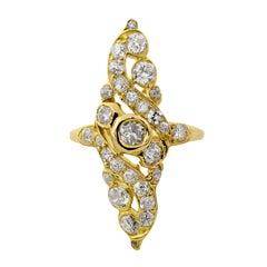 Diamond 18 Karat Yellow Gold Navette Ring