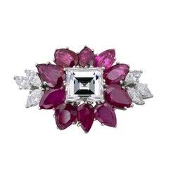 1960s Cartier 4.24 Carat Diamond Ruby Platinum Brooch