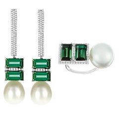 Nadine Aysoy 18 Karat Gold, Green Tourmaline Baguette and South Sea Pearl Suite