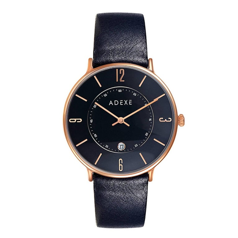 MAC Black and Rose Gold Genuine Italian Leather Lifestyle Watch