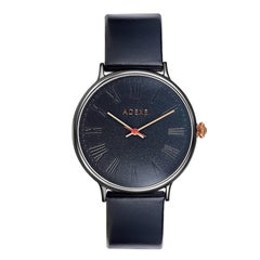 Sphère Black and Black Genuine Italian Leather Doomed Glass Lifestyle Watch