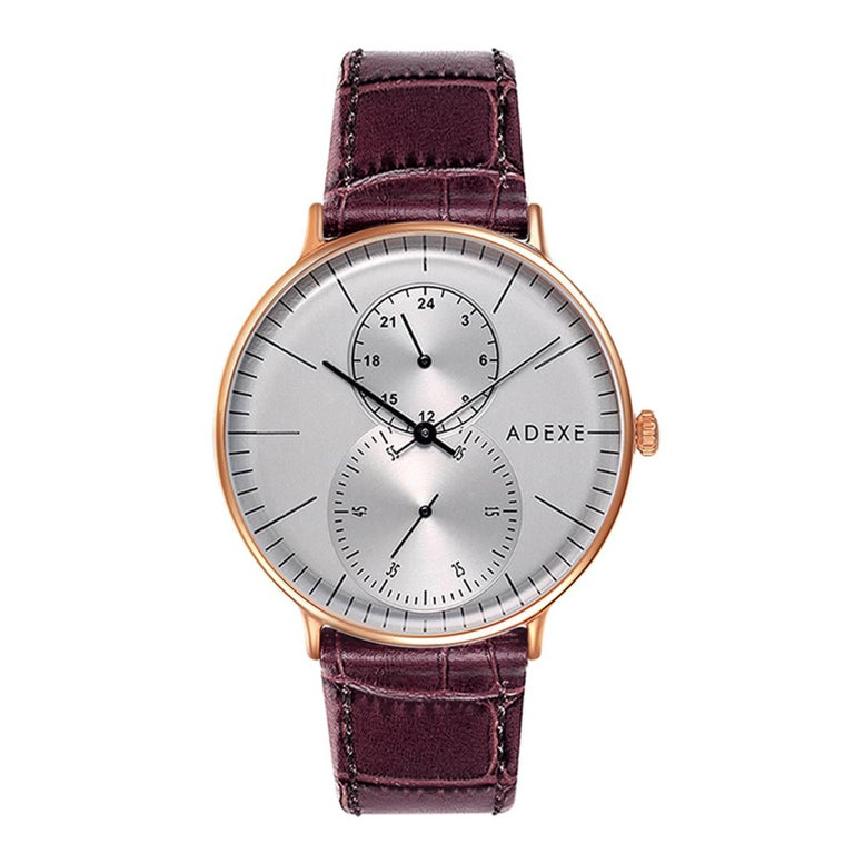 ADEXE Foreseer Stainless Steel Grey and Dark Brown Handmade Wristwatch