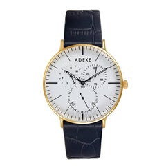 ADEXE Watches Stainless Steel Gold and White Wristwatch