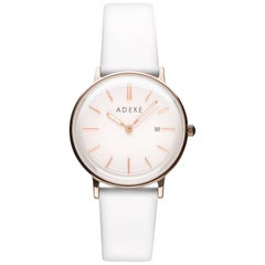 Adexe White and Rose Gold Stainless Steel Genuine Italian Leather Quartz Watch