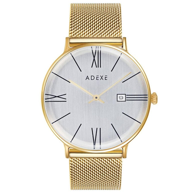 Adexe Unisex Minimal Stainless Steel Meek Gold Watch Japanese Movement