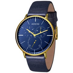 Adexe They Unisex Italian Leather Blue and Gold Japanese Movement Watch
