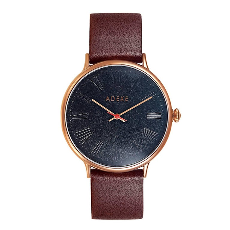 Sphère Brown Rosegold Genuine Italian Leather Domed Glass Minimal Designer Watch
