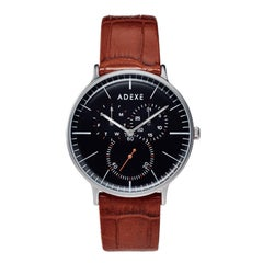 ADEXE Stainless Steel They Brown Silver Black Japanese Movement Watch