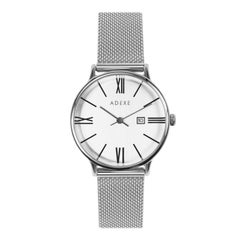 Adexe Stainless Steel Timeless Petite Silver Watch for Her 'Long Battery Life'