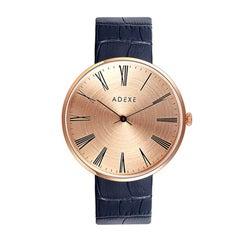 Adexe Sistine Black Rose Gold Italian Leather Timeless Designer Quartz Watch