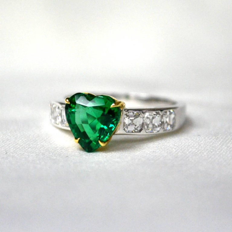 Heart Shaped Emerald Diamond 18 Karat Gold Solitaire Ring