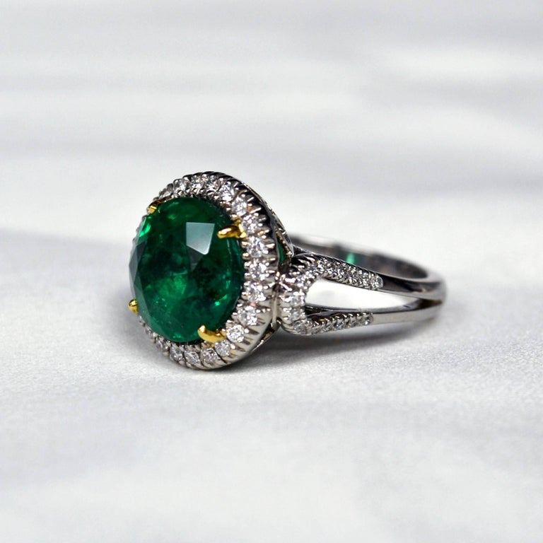 5 59 Carat Round Zambian Emerald Diamond Gold Ring For