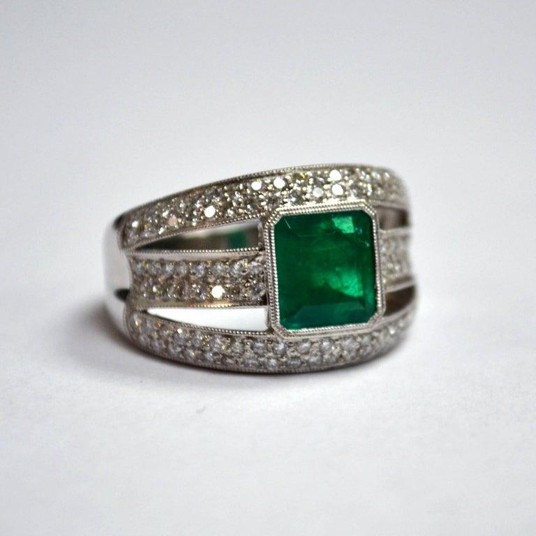 Emerald Diamond 18 Karat Gold Three Row Wide Band Ring For