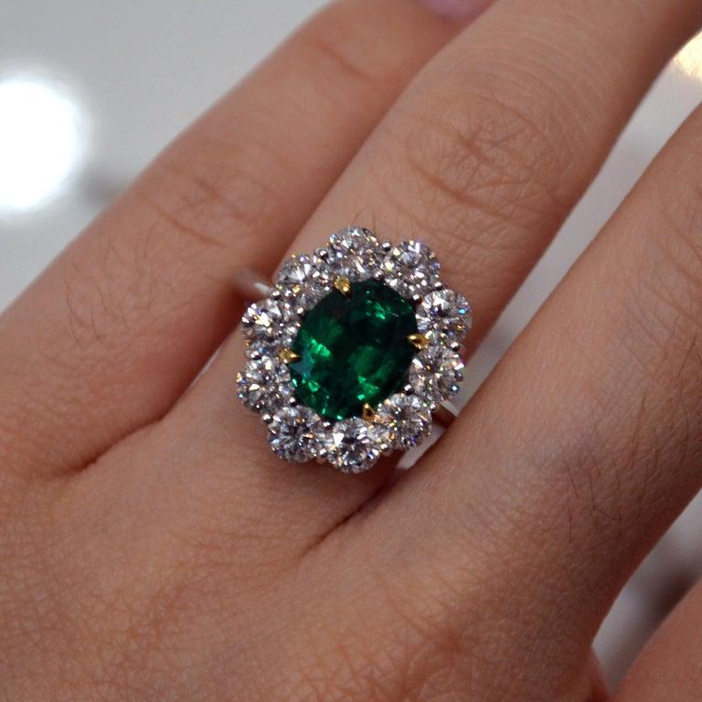 3 29 Carat Emerald Diamond Halo Princess Diana Engagement Ring For