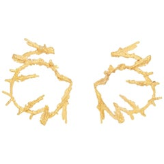 Loveness Lee Maze Natural Textured Gold Hoop Earrings