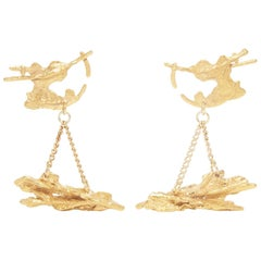 Loveness Lee Exocoetidae Gold Textured Dangle Earrings
