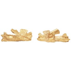 Kairos Textured Natural Formed Gold Stud Earrings