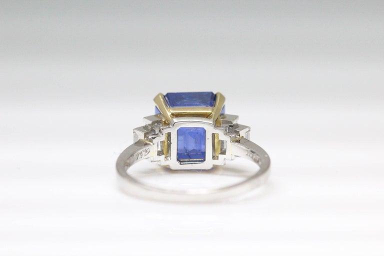 Emerald Cut Bulgari 6.54 Carat Natural Sapphire Diamond Ring For Sale