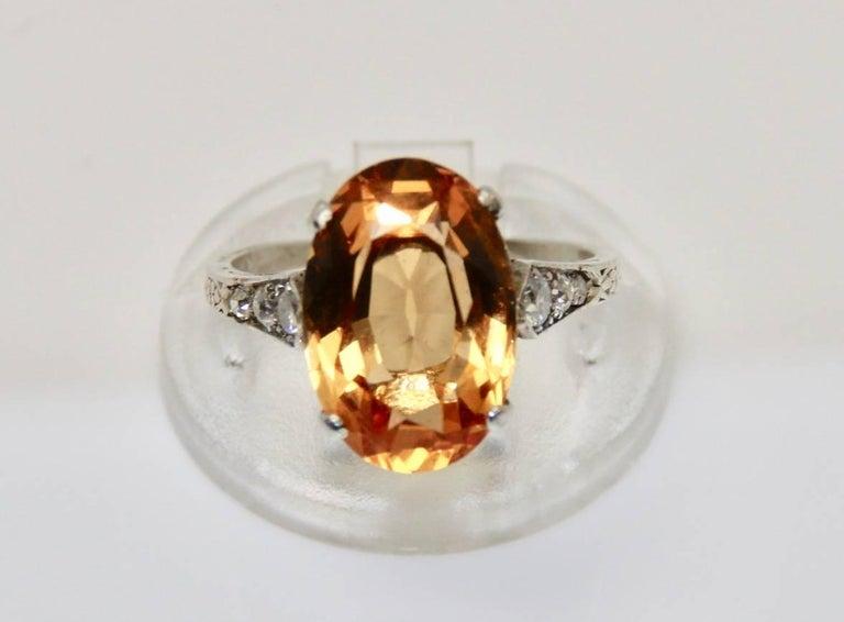 1940s 8 Carat Brazilian Imperial Topaz And Diamond Ring