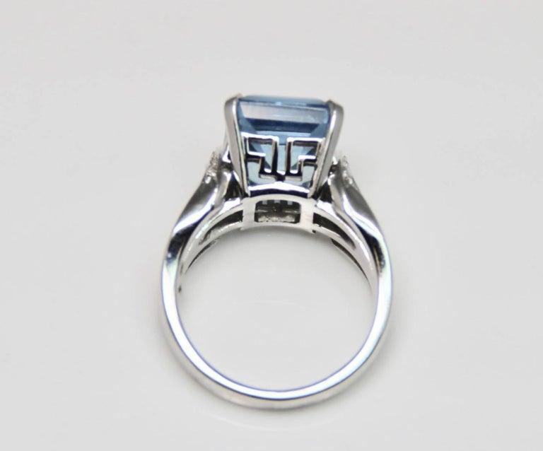 Emerald Cut Modern Aquamarine Art Deco Style Geometric Design Ring For Sale