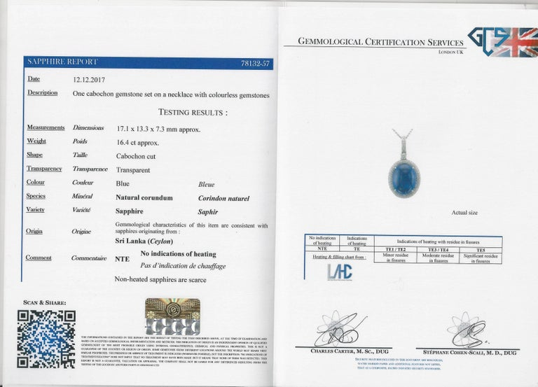 Modern Natural Certified 16 Carat Blue Sapphire and Diamond Pendent For Sale