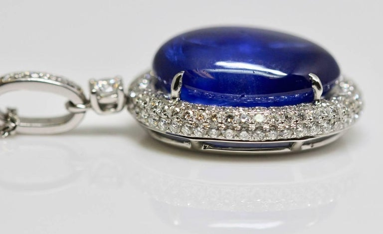 Natural Certified 16 Carat Blue Sapphire and Diamond Pendent In Good Condition For Sale In London, GB