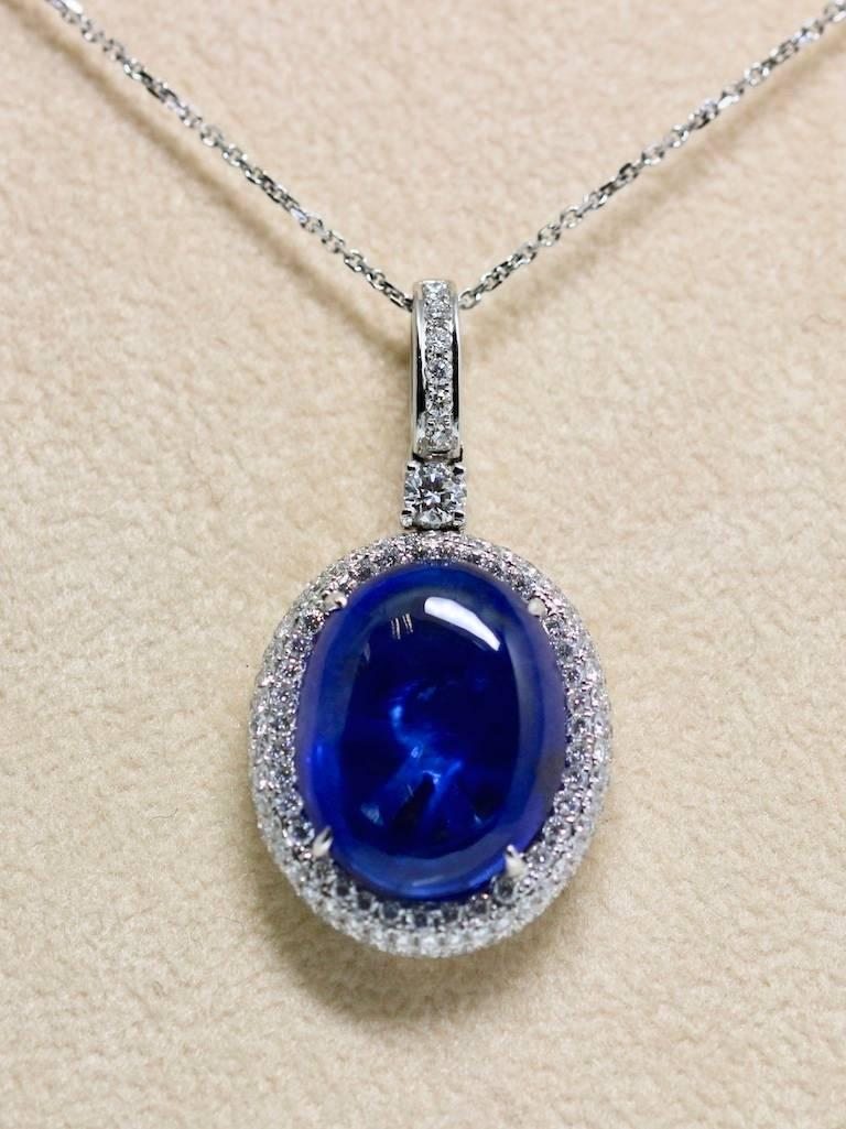 Women's Natural Certified 16 Carat Blue Sapphire and Diamond Pendent For Sale