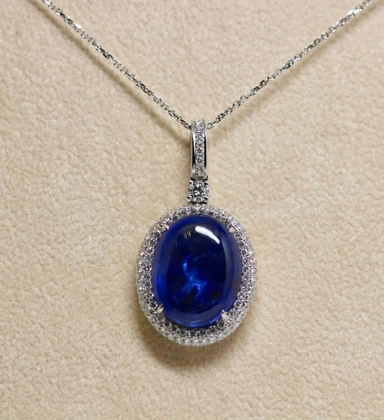 Natural Certified 16 Carat Blue Sapphire and Diamond Pendent For Sale 2