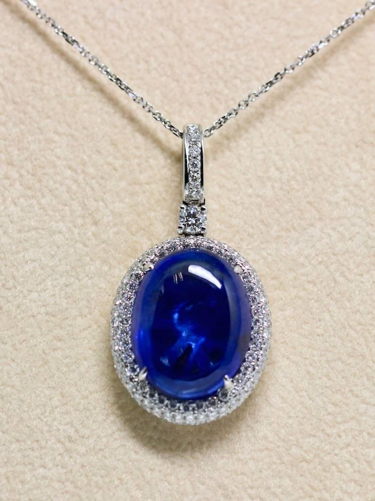 Natural Certified 16 Carat Blue Sapphire and Diamond Pendent For Sale 3