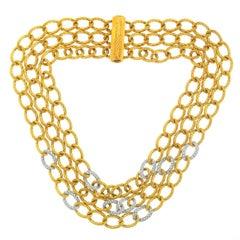 David Yurman 18 Karat Gold 3 Strand Twisted Oval Link Diamond Necklace
