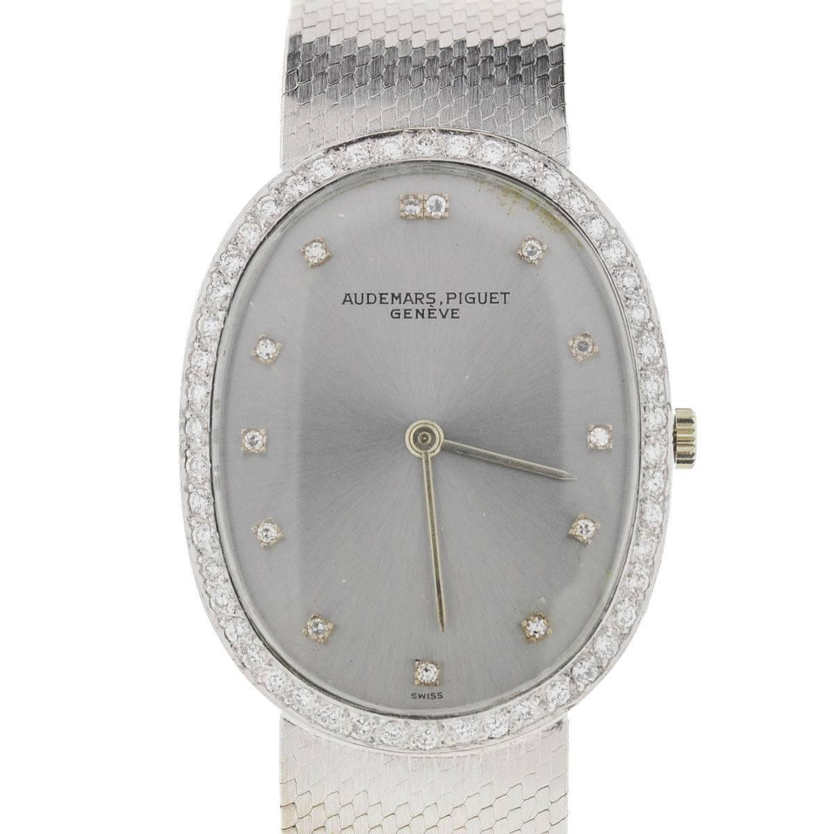 Audemars Piguet White Gold Diamond Vintage Manual Wristwatch