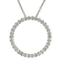 Roberto Coin Circle of Life 18 Karat White Gold Diamond Pendant Necklace