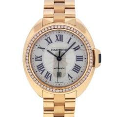 Cartier Ladies Cle de Cartier Rose Gold Diamond Automatic Wristwatch
