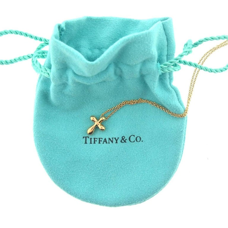 Tiffany And Co 18 Karat Rose Gold Elsa Peretti Cross Pendant Necklace At 1stdibs