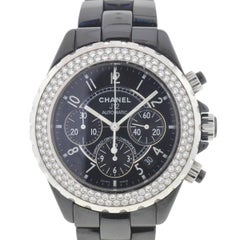 Chanel Black Ceramic Diamond J12 Chronograph Automatic Wristwatch