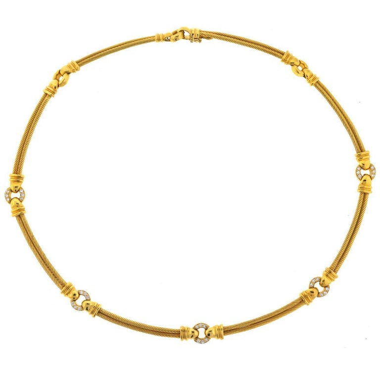 18 Karat Yellow Gold Philippe Charriol Diamond Cable Choker Necklace