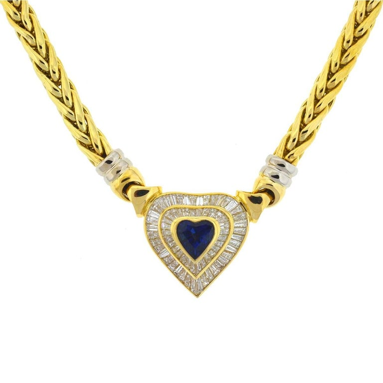 "Style - Choker / Pendant Meta l- 18k Yellow Gold Weight - 59.7 Grams Chain Length - 16"" Stones  - Diamonds (approx. 3.02cts) Sapphire (approx. 2.2cts) Includes - Necklace only"