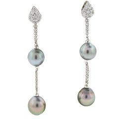 Damiani Ninfea 18 White Tahitian Pearl and Diamonds Drop Earrings