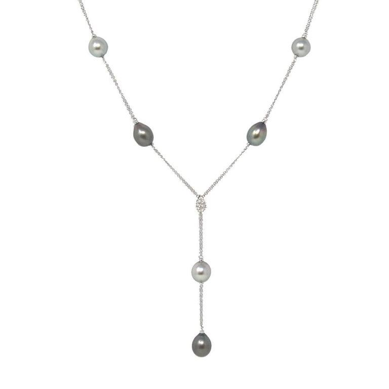 Damiani Ninfea 18 Karat White Tahitian Pearl and Diamonds Drop Ladies Necklace