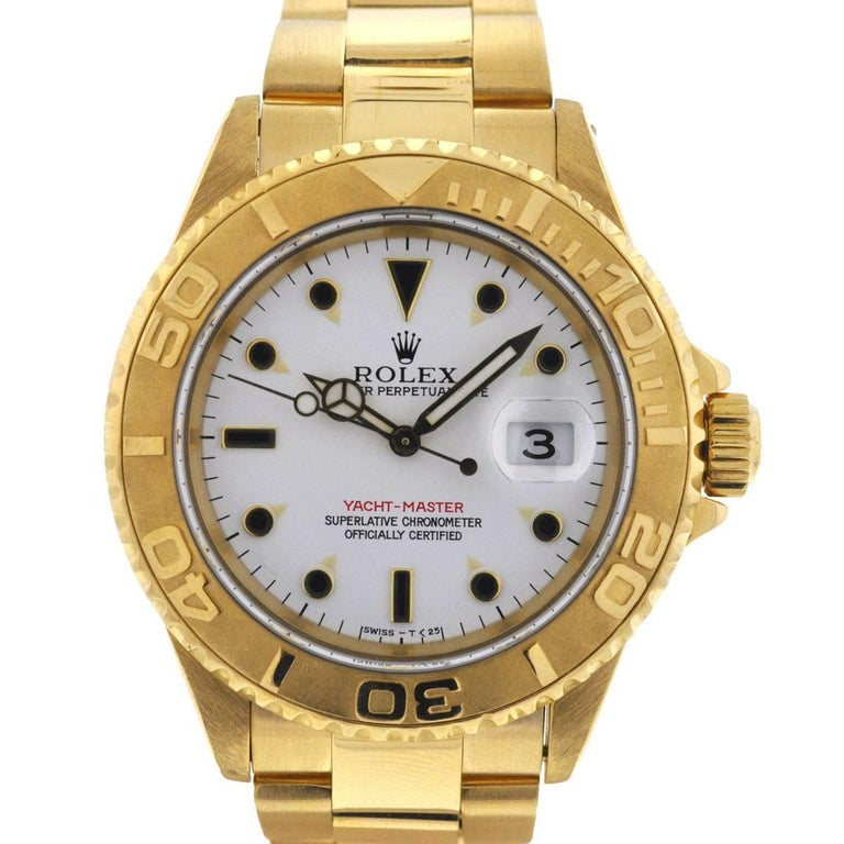 Rolex Yellow Gold Yachtmaster White Dial Mechanical Automatic Wristwatch
