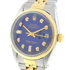 Rolex Yellow Gold Stainless Steel Datejust Blue Diamond Dial Wristwatch