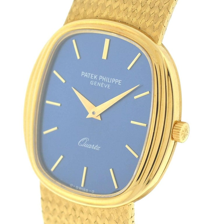 Patek Philippe 3857 18 Karat Yellow Gold Blue Dial Watch In Excellent Condition For Sale In Boca Raton, FL