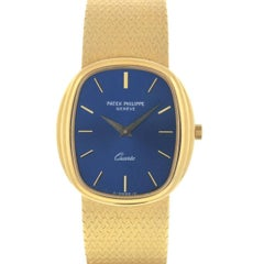 Patek Philippe 3857 18 Karat Yellow Gold Blue Dial Watch