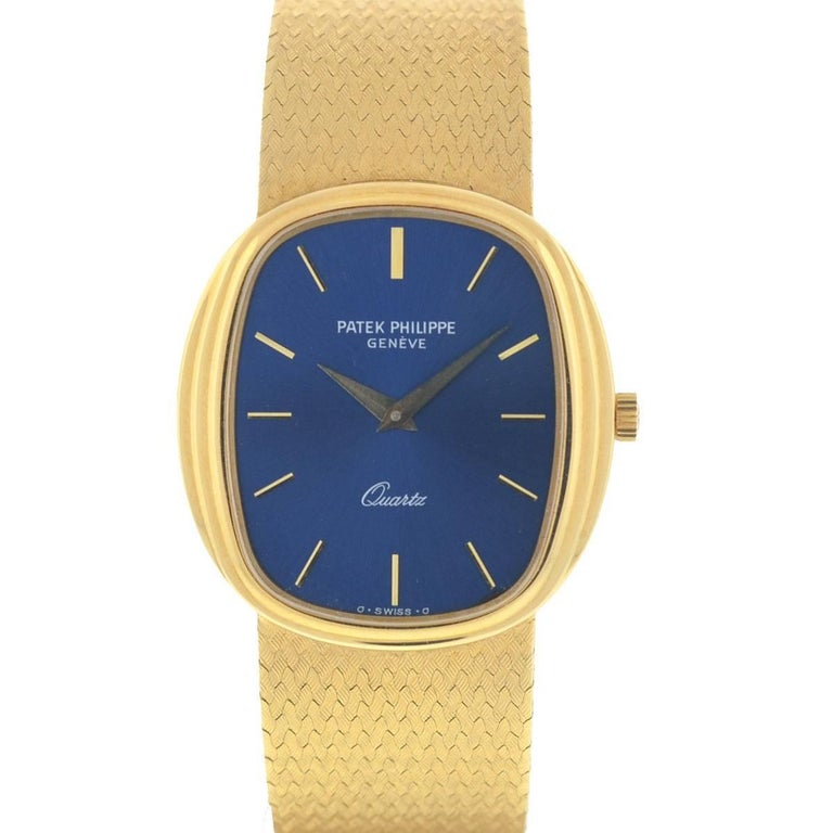 Patek Philippe 3857 18 Karat Yellow Gold Blue Dial Watch For Sale