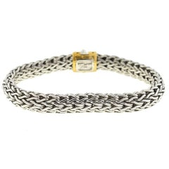 John Hardy Woven Sterling Silver Yellow Gold Men's Bracelet
