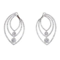 18 Karat White Gold Three-Row Prong Set Diamond Earrings