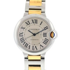 Cartier 3284 Two-Tone Ballon Bleu Stainless Steel 18k Rose Gold Automatic Watch
