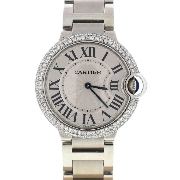 Cartier 3005 Ballon Bleu Stainless Steel Diamond Bezel Watch