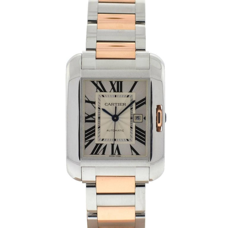 Cartier Two-Tone 3511 Anglaise Stainless Steel 18 Karat Rose Gold Watch